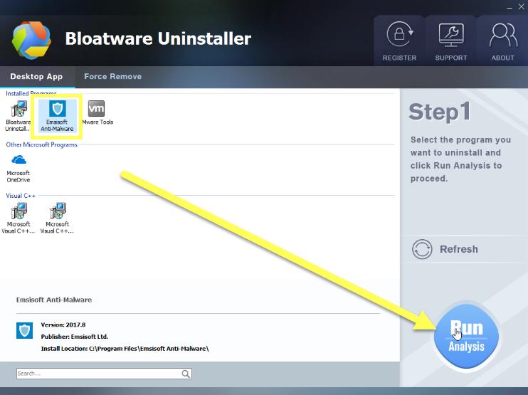 remove Emsisoft Anti-Malware 2017