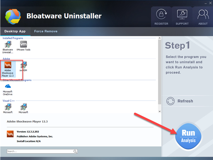 uninstall Shockwave Player bloatware uninstaller