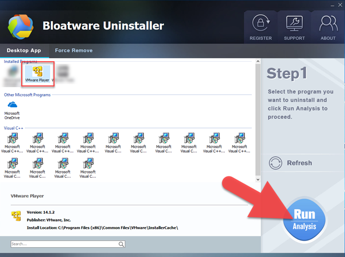uninstall VMware Player Bloatware Uninstaller