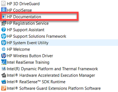 remove HP Documentation