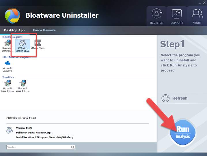 uninstall CDRoller with bloatware uninstaller
