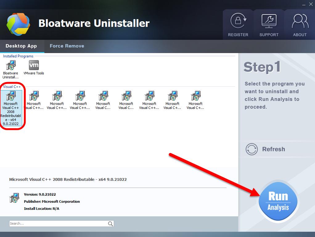 Uninstall Microsoft Visual C++ 2008 Redistributable