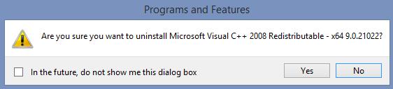 Uninstall Microsoft Visual C++ 2008 Redistributa