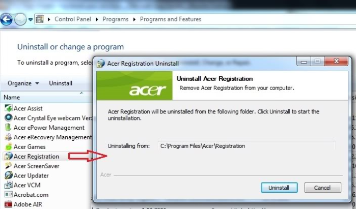 remove Acer Registration