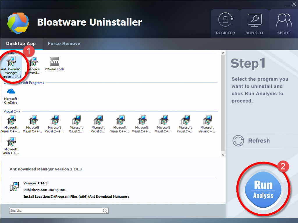Remove Ant Download Manager with Bloatware Uninstaller