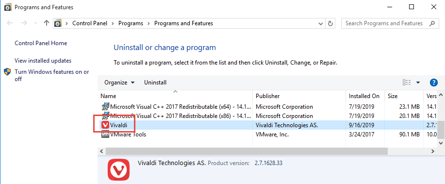 Remove VIvaldi in Windows
