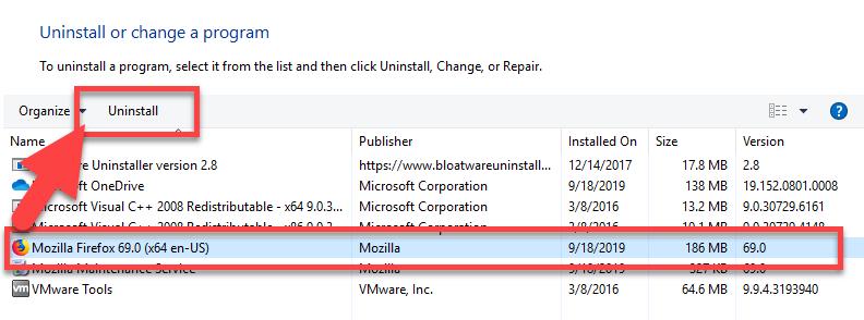 remove Mozilla Firefox