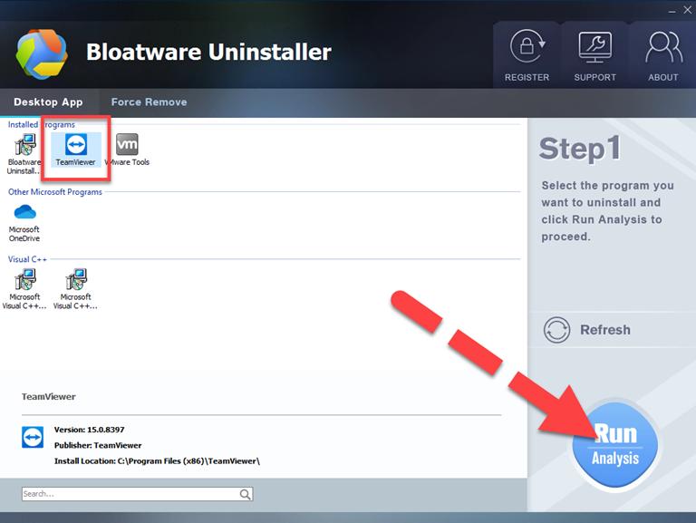 Uninstall TeamViewer