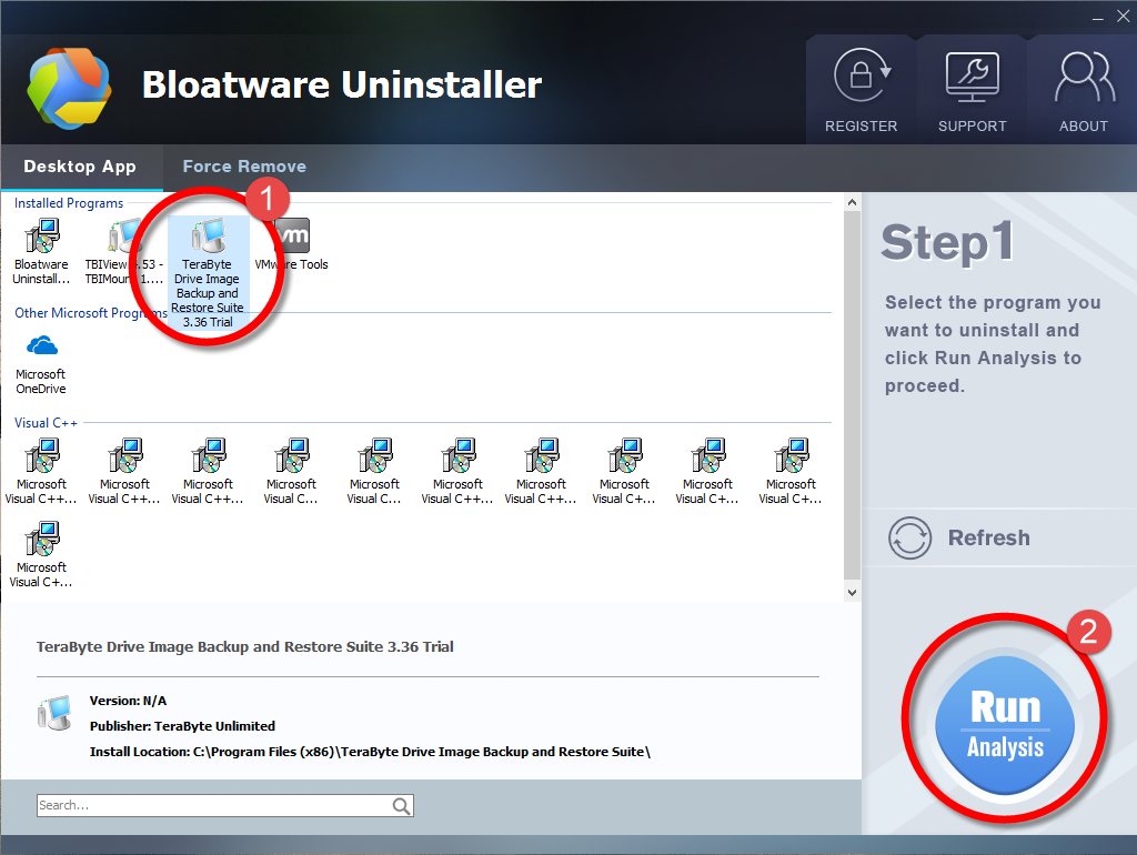 Remove TeraByte Drive Image Backup and Restore Suite with Bloatware Uninstaller.