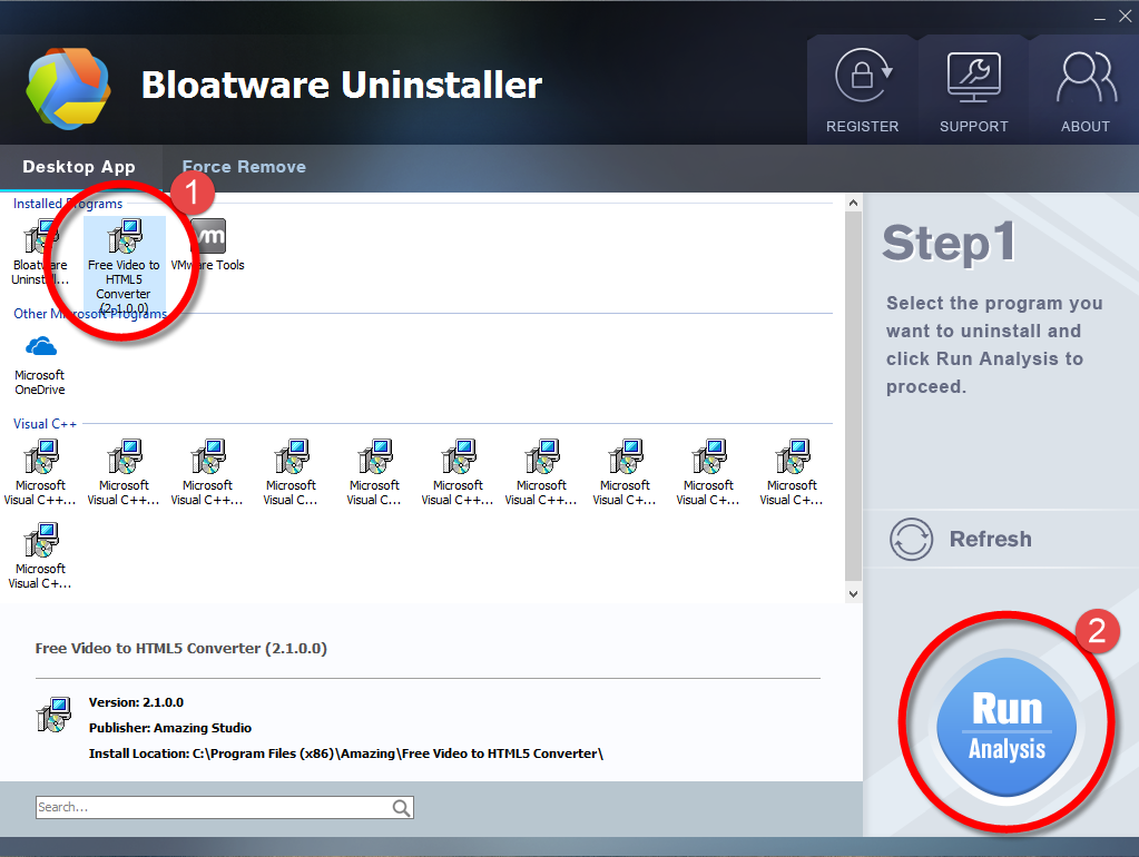 Remove Free Video to HTML5 Converter with Bloatware Uninstaller