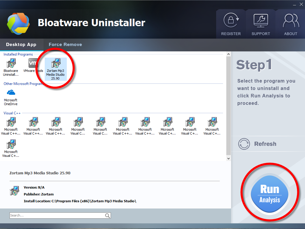 Uninstall Zortam Mp3 Media Studio with Bloatware Uninstaller
