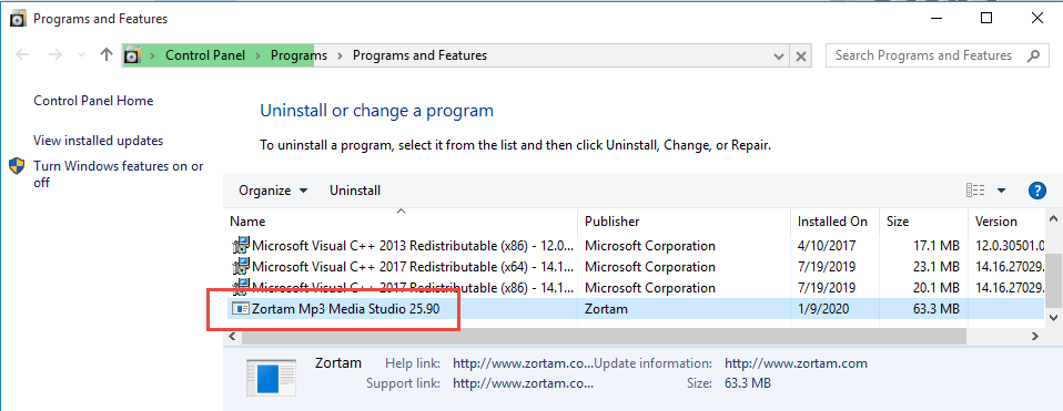 Uninstall Zortam Mp3 Media Studio
