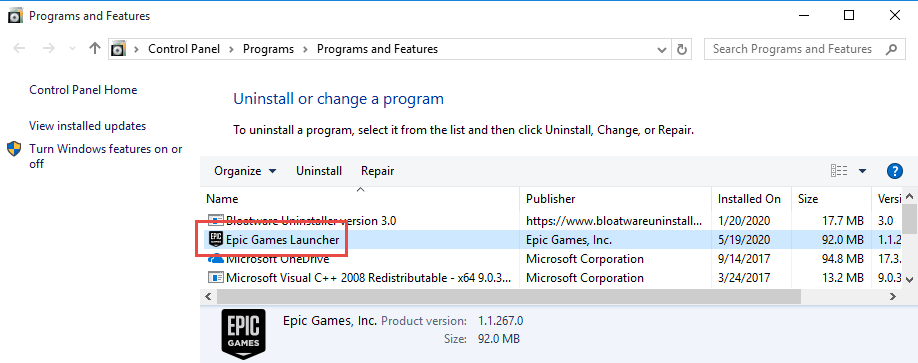 Remove Epic Games Launcher in Windows