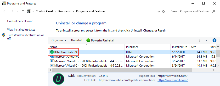 Remove IObit Uninstaller 9 in Windows 10