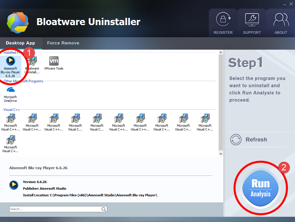 Uninstall Aiseesoft Blu-ray Player with Bloatware Uninstaller