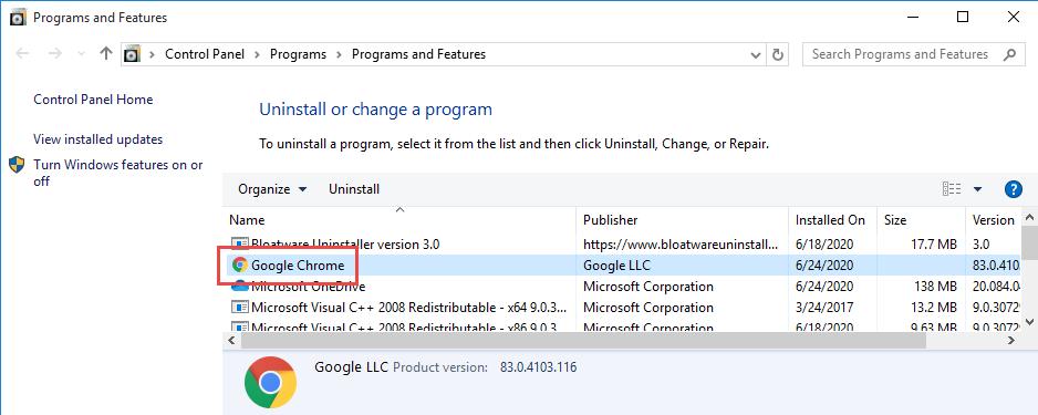 Remove Google Chrome in Windows