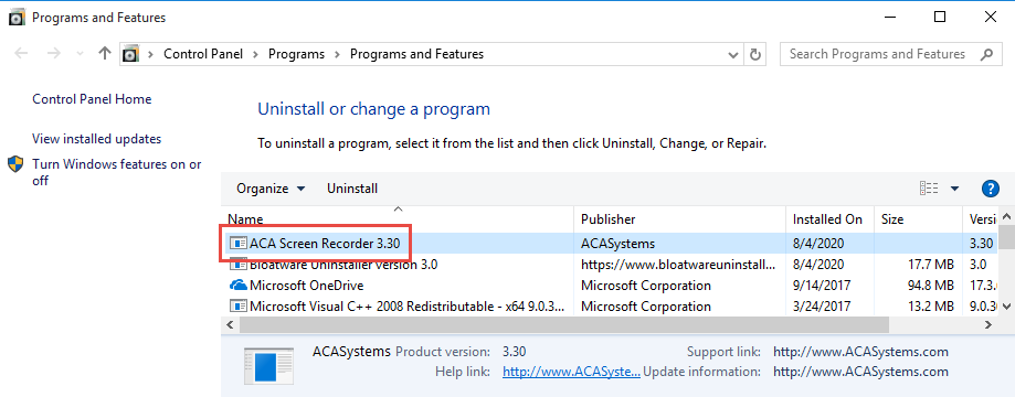 Uninstall ACA Screen Recorder