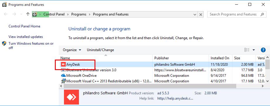 Remove AnyDesk in Windows