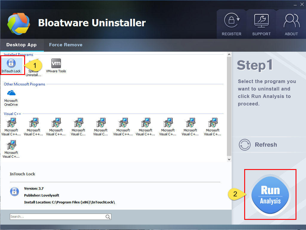 Remove InTouch Lock with Bloatware Uninstaller