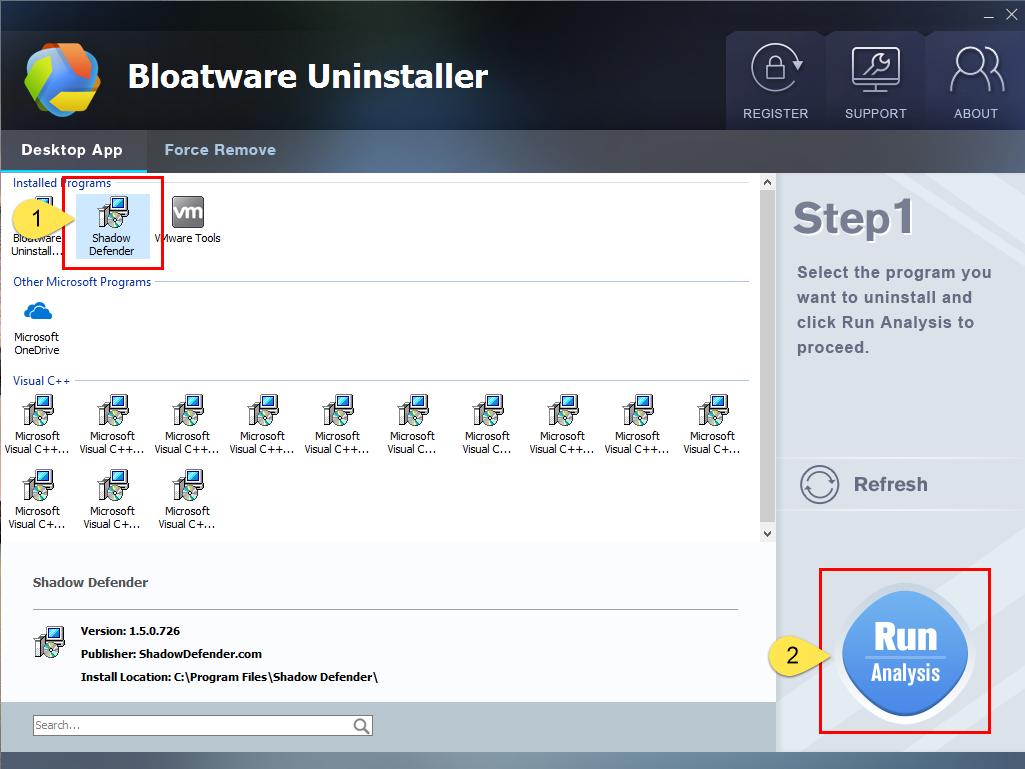 Remove Shadow Defender with Bloatware Uninstaller