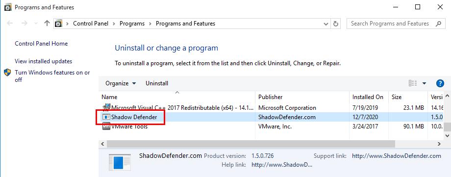 Remove Shadow Defender in Windows 10