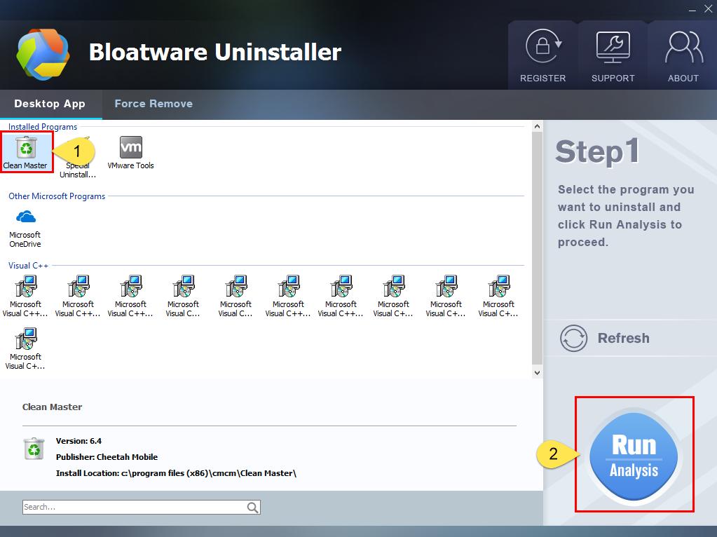 Uninstall Clean Master with Bloatware Uninstaller