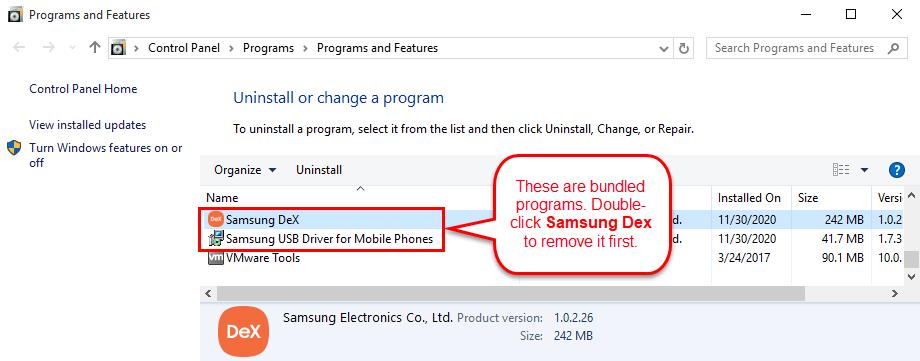 Uninstall Samsung Dex in Windows