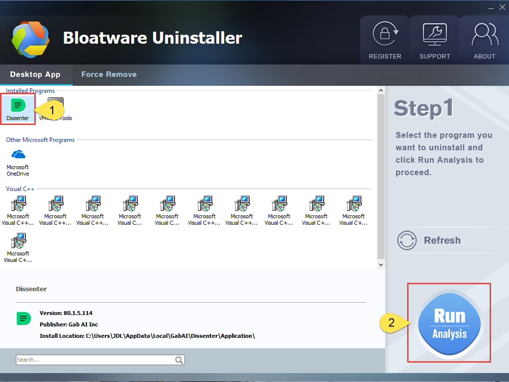 Remove Dissenter with Bloatware Uninstaller
