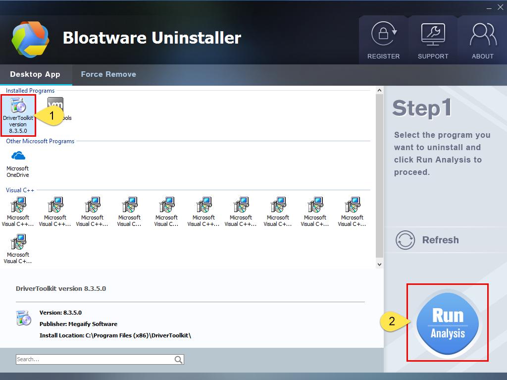 Remove DriverToolkit with Bloatware Uninstaller