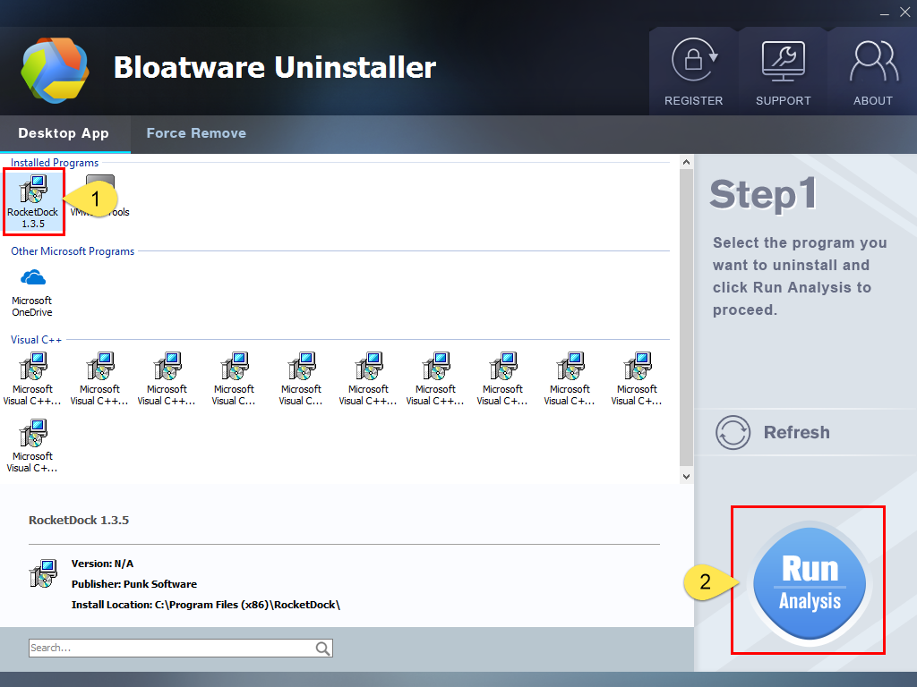 Uninstall RocketDock with Bloatware Uninstaller