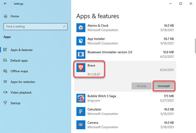 Uninstall Brave on Windows 10