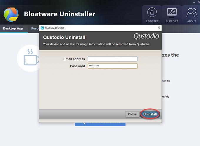 Uninstall Qustodio with Bloatware Uninstaller