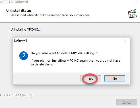 delete Media Player Classic settings